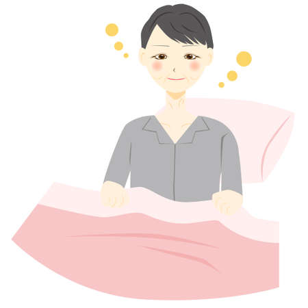 Middle aged women wake up. Vector illustration