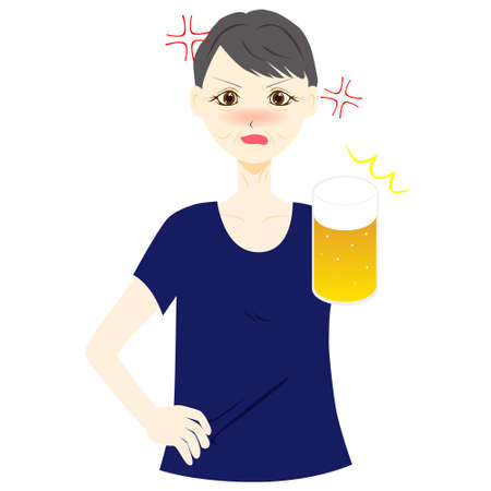 A woman get angry while drinking beer