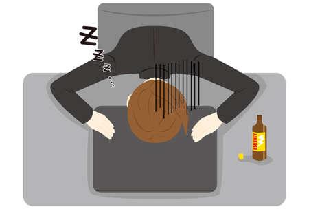 woman sleeping on desk with laptop hard working day. 版權商用圖片 - 155198538