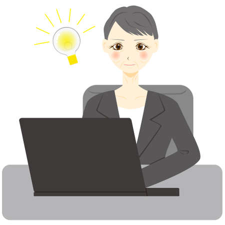 Middle aged woman using computer. Vector illustration