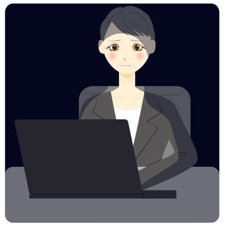 Middle aged women using personal computer. vector illustration Vettoriali