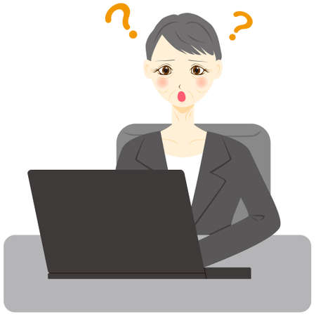 Middle aged woman using computer. question mark. Ilustração