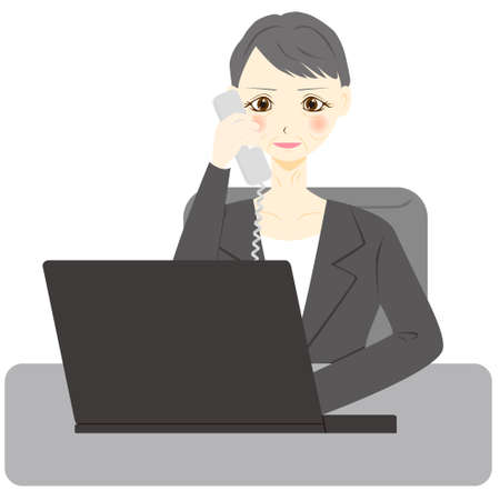 Middle aged woman  with Laptop Computer, Talking to Someone on Phone.
