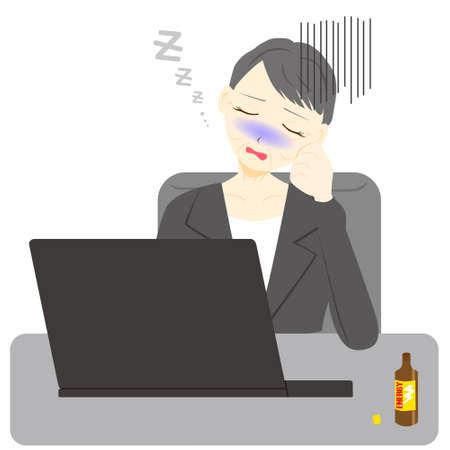 Middle aged woman sleeping with laptop hard working day. Illusztráció
