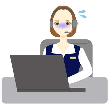 Business woman with a troubled look and a personal computer.