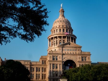 Texas capital in Austin with texas state flag, trees in foreground and clear blue sky. Shot on sunny day.