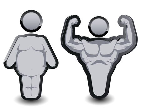 before and after: fat man and Muscle before, after