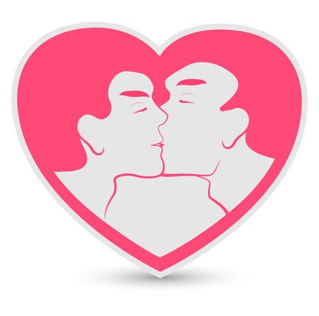 gay love: homosexual couple Illustration