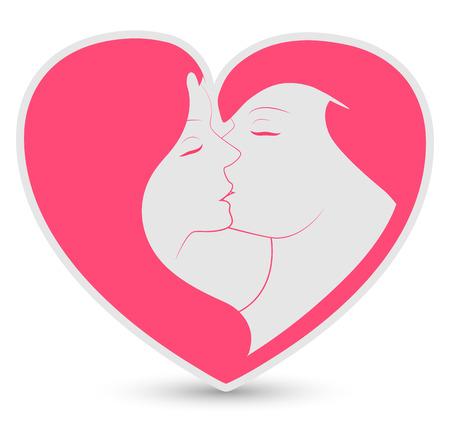 young couple kiss: lesbian couple