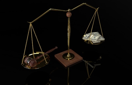 Concept For Corruption, Bankruptcy Court, Bail, Crime. Gavel and money on scale. Black background