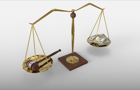 Concept For Corruption, Bankruptcy Court, Bail, Crime. Gavel and money on scale