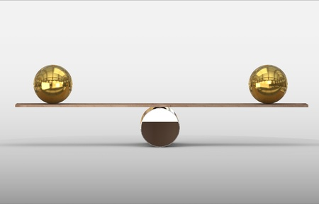 balance between 2 golden balls 免版税图像
