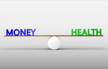 Health and money on scales. Isolated 3D illustration
