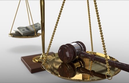 Concept For Corruption, Bankruptcy Court, Bail, Crime.  gavel,  money and hammer of justice on scale