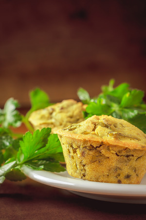 cornflour: Vegan muffins made with spinach, cornflour and sesame, flax and sunflower seed