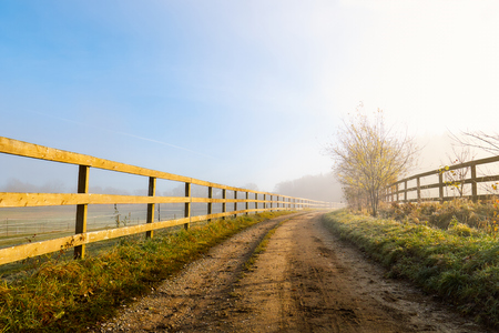 Country road on a foggy misty morning surrounded by a wooden fence. Copy space Stock Photo