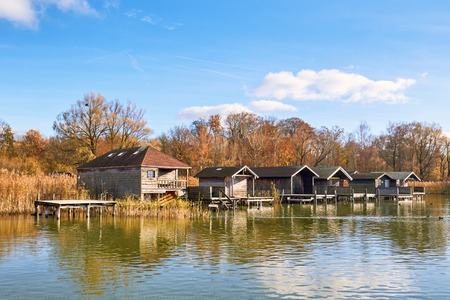 Old wooden boat houses at Lake Starnberg in Bavaria, Germany