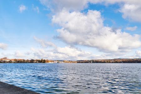 Autumn season on Lake Starnberg in Germany. Copy space Stock Photo
