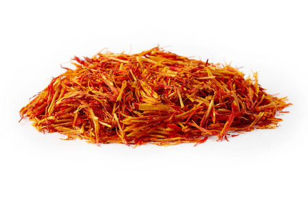 Safflower petals (Saffron substitute) isolated on white background Stockfoto