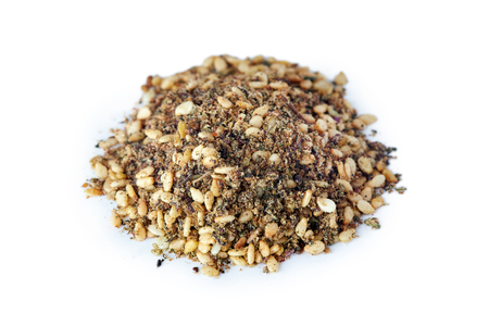 Zaatar (zatar), Middle Eastern spice mixture isolated on white background