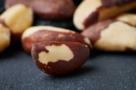 Close up of brazil nut (Bertholletia excelsa) on black background 免版税图像