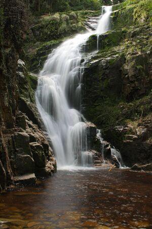 sudetes: Kamienczyk waterfall at poland sudetes mountains Stock Photo