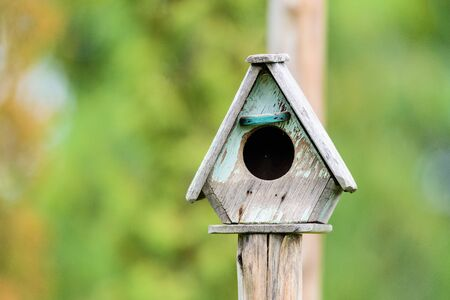 single dwellings: Wooden bird house is made of wood house for bird nesting habitat Wang eggs. Stock Photo