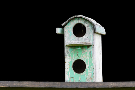 nesting: Wooden bird house is made of wood house for bird nesting habitat Wang eggs. Stock Photo