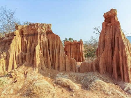 soil erosion: Collapse of the soil erosion caused by wind and rain.