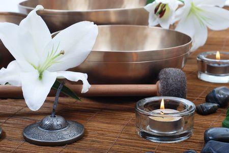 Accessories for sound massage. Tibetan singing bowls treatment