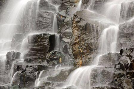 closeup of water falling on rocks