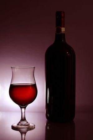 ワイングラスとボトル 写真素材