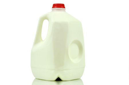one gallon of milk container isolated on white with path