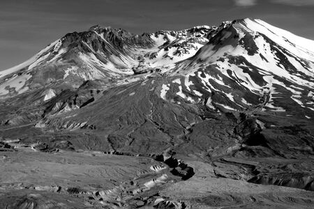 helens: closeup of the volcanic crater of Mount St. helens in black and white Stock Photo