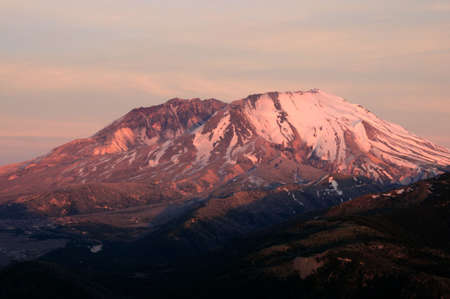 helens: Beautiful Mount St. Helens national volcanic monument in the sunset glow