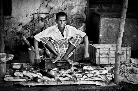 kolkata, india - june 12: an unidentified fisherman waits for customers to come and buy his freshly caught fishes on june 12, 2011 at maniktala fish market in kolkata, west bengal, india