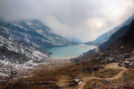Beautiful high dynamic range image of Changu lake in Sikkim and the surrounding vista