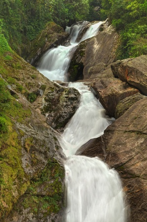 Beautiful cascading jungle stream flowing down rocky slopes of a mountain
