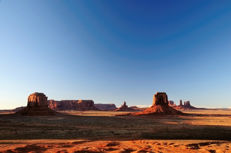 tribal park: Mittens and Buttes in Monument Valley Navajo Tribal Park Arizona from Artist Point during sunset