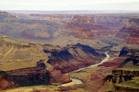 mud wall: Beautiful picture of the Colorado river flowing through Grand Canyon national park