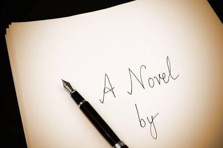 novel: Cover page of a draft novel written using a fountain pen, vintage photo
