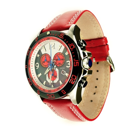 tachymeter: Stylish red leather mens sports watch over white Stock Photo