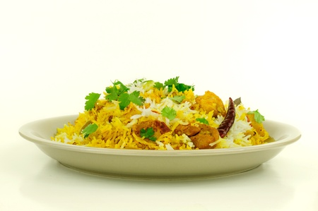 chicken rice: Delicious Chicken Biriyani - an exotic traditional Indian cuisine Stock Photo