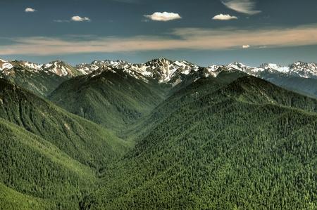 olimpo: Cordillera Ol�mpico y valles desde punto de vista de hurac�n Ridge Foto de archivo