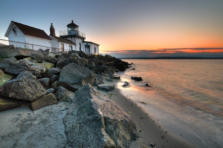West Point lighthouse at Discovery park Seattle at dusk