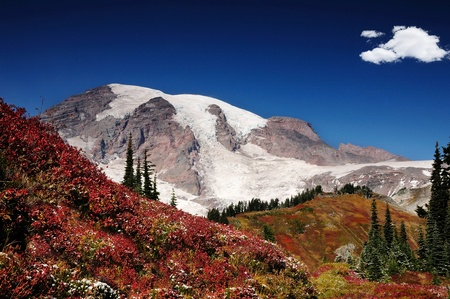 MOUNT RAINIER: Mount Rainier with valleys covered with brilliant fall colors