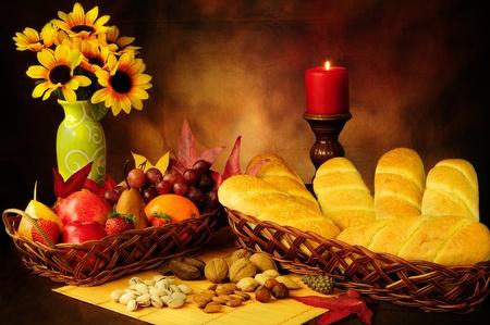 Dramatic still life of beautifully decorated food in autumn season photo