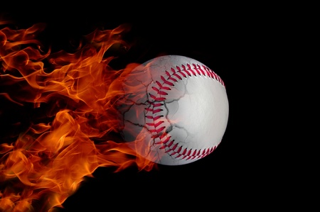 Baseball at high speed catching fire and burning with cracks Stock Photo
