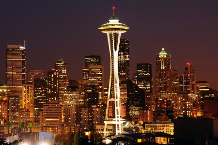 Dazzling image of the emerald city of Seattle skyline at dusk