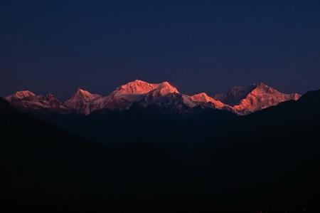 The majestic Kanchendzonga range of the himalayas at first light of sunrise